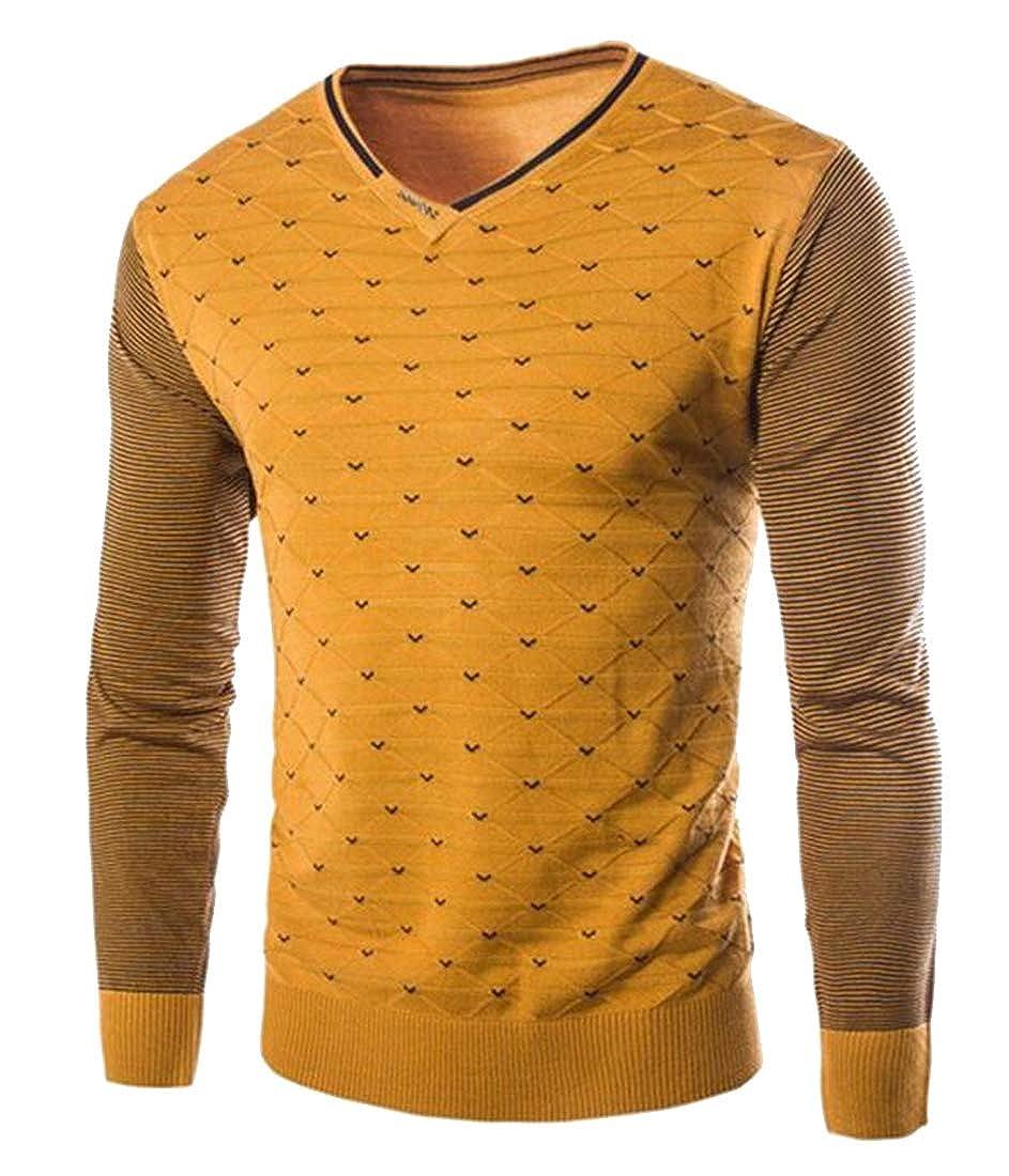 Fubotevic Mens V-Neck Long Sleeve Knitting Stripe Print Slim Pullover Sweaters