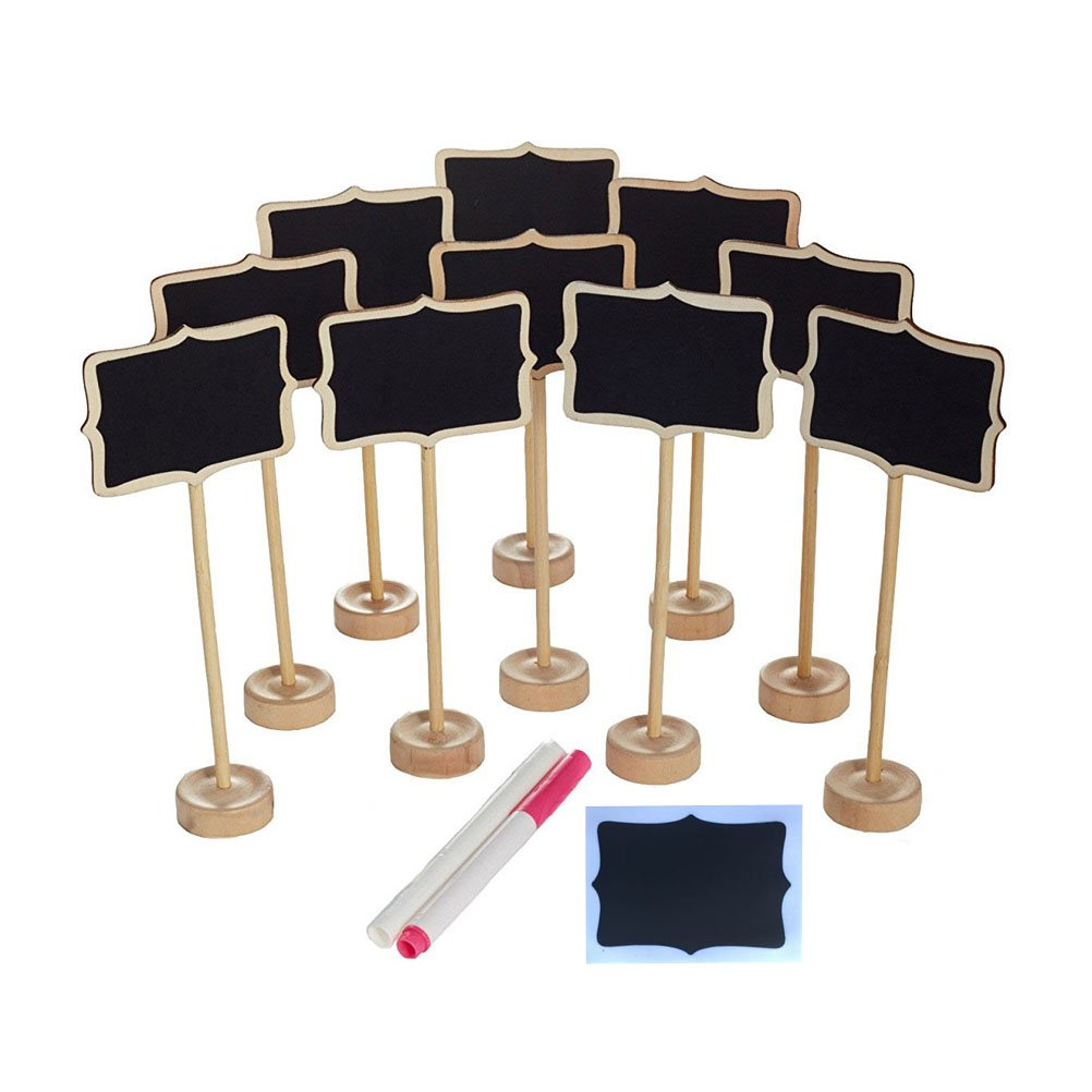 NUOLUX 10PCS Mini Chalkboard with Stand,2 Liquid Chalks,10 Pieces Replace Film for Message Board Signs