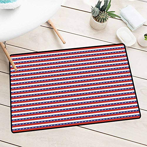 - NineHuiTechnology Commercial Door Mat, 4th of July, Stars and Stripes Pattern American Flag Inspired Patriotic Theme, Violet Blue Ruby White, 18