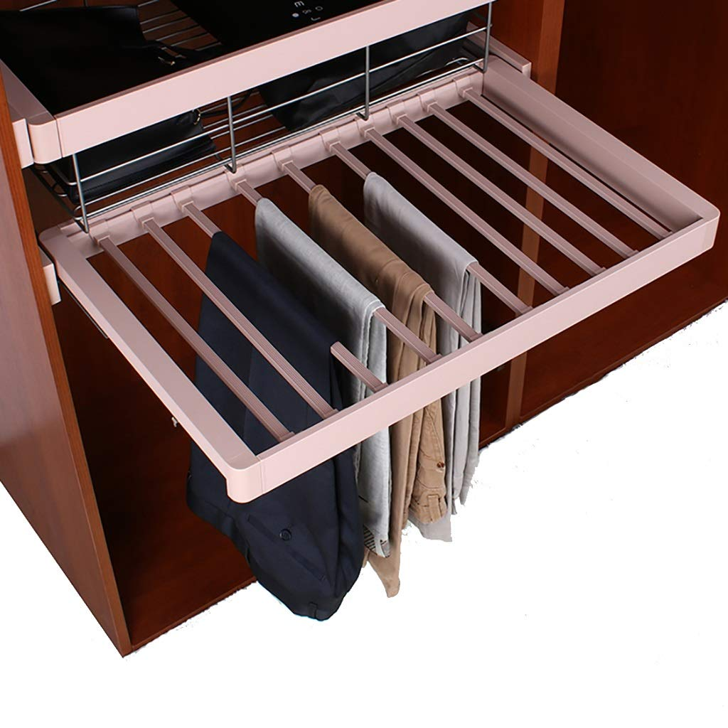 Pull Out Trousers Rack Pants Hanger Rail with Damper Width Adjustable Tie Organizer for Wardrobe (Color : Cream Brown, Size : 564-624mm)
