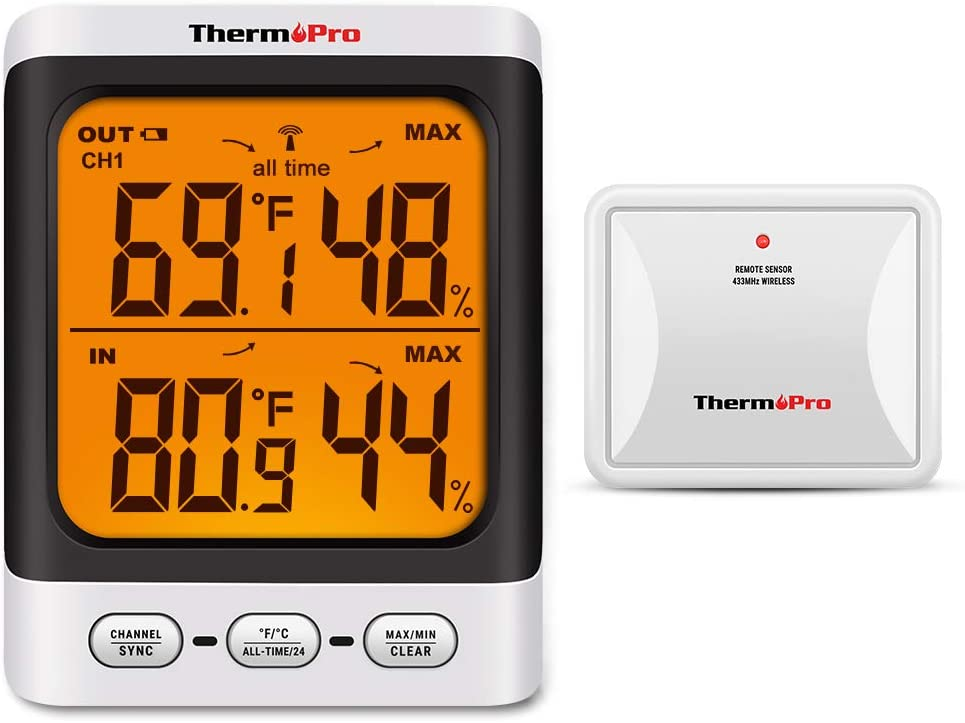 ThermoPro TP62 Digital Wireless Hygrometer Indoor Outdoor Thermometer Temperature and Humidity Gauge Monitor with Backlight LCD Display Humidity Meter 200ft//60m Range
