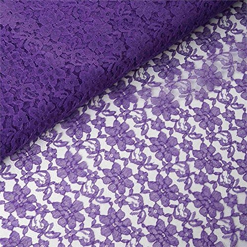 BalsaCircle 54-Inch x 15 Yards Purple Lace Fabric by The Bolt - Wedding Party Decorations Sewing DIY Crafts Costumes Supplies -