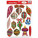Beistle Christmas Ornament Clings, 12-Inch by 17-Inch Sheet