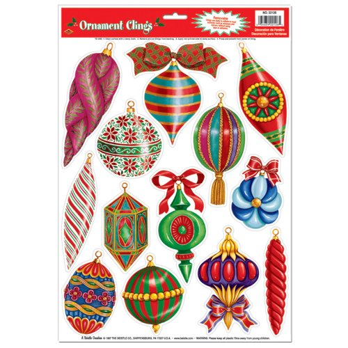 Christmas Ornament Clings Party Accessory (1 count) (13/Sh)