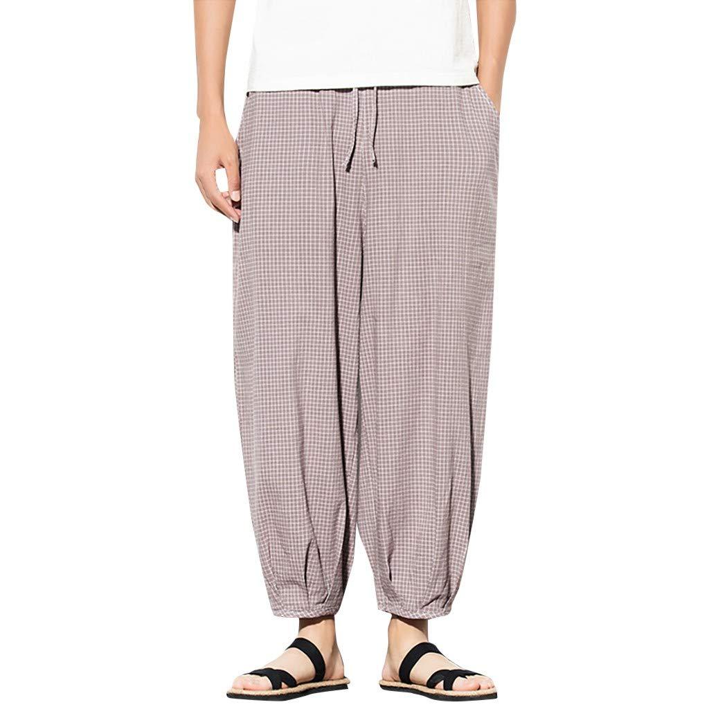 ZOMUSAR Men Long Pants Fashion Casual Harem Pants Jogger Pants Fitness Trousers Loose Pants Gray