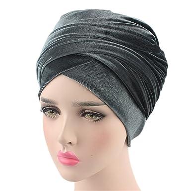 Turban Hat Headband Head Wrap - Gold Teal Magic Velvet Turbans HeadWrap Bow Twist Chemo Cap