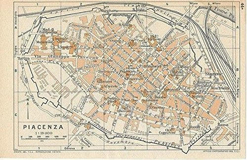 Amazon Com Piacenza Northern Italy 1954 Vintage Color Lithograph