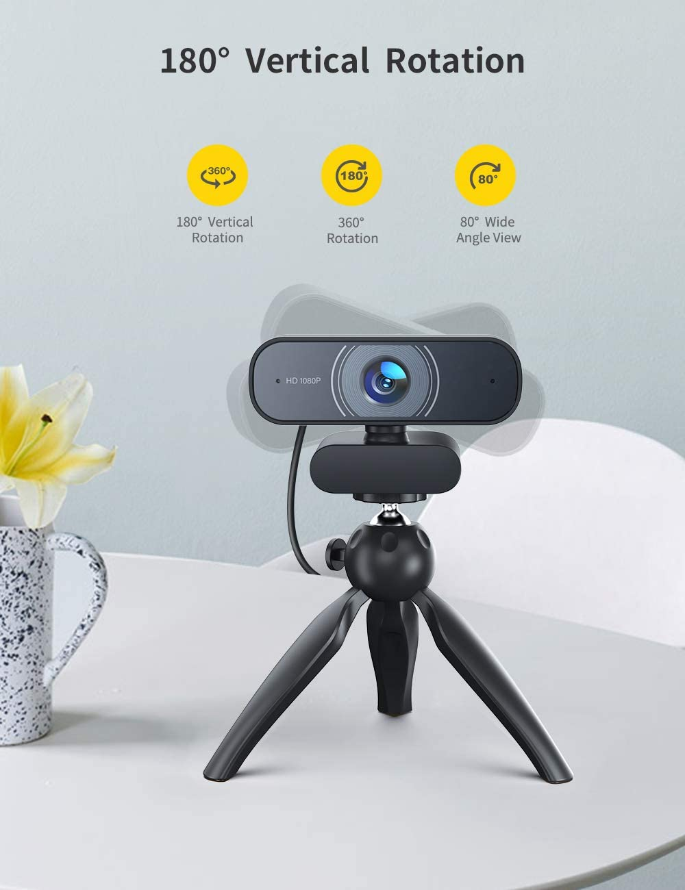 Dual Built-in Microphones Conference Video Calling Streaming RALENO 1080P Webcam Full HD Video Camera for Computers PC Laptop Desktop USB Plug and Play