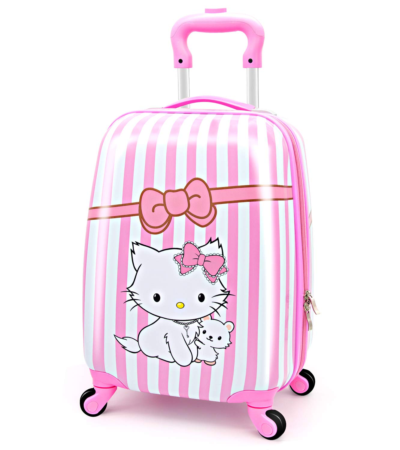 LeLeTian Kids Luggage Hardshell Lightweight Adjustable Handle Rolling Carry On Suitcase For Age 2+ Pink Cat