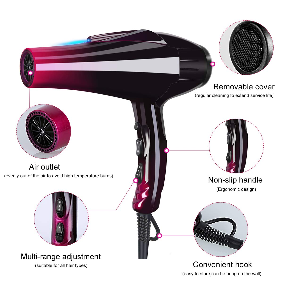 Professional Hair Dryer with Blue Light Far Infrared Negative Ionic 3500W Blow Dryer Fast Drying Heat Hairdryer Powerful Home Salon hair dryers
