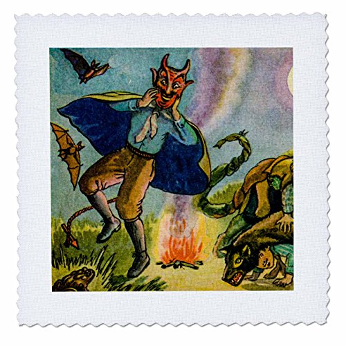 3dRose Scenes from The Past Ephemera - Vintage Halloween Postcard Early 1900s Ghoulish Devil - 10x10 inch Quilt Square (qs_269793_1) -