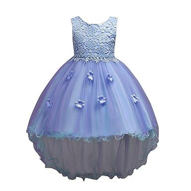 PAOLIAN Vestidos Largos de Fiestas para Niñas Manga Larga Otoño 2018 Falda mullida Princesa Boda Niñas