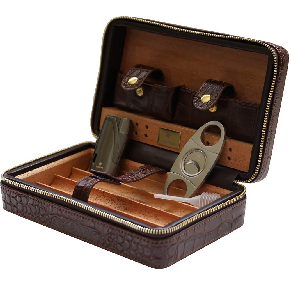 Coh Leather Travel Case with Cutter and Lighter - 4 Cigars - Including Humidification Kit - Color: Brown by H&H (Image #6)