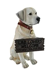 labrador retriever garden statue with welcome sign for lab lovers