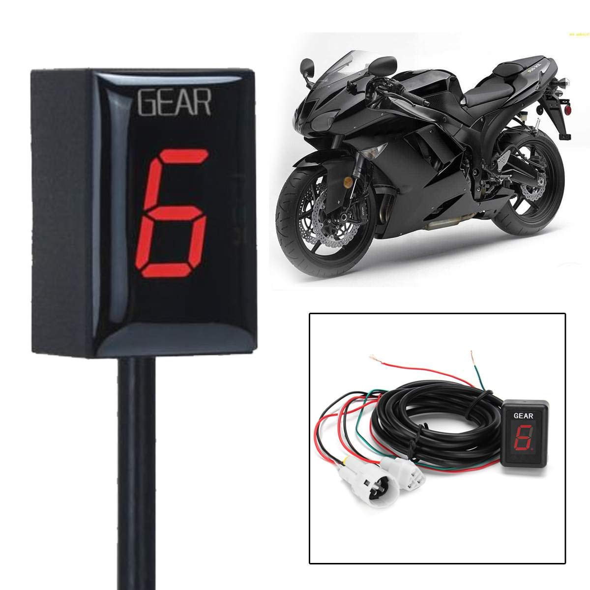 Amazon.com: Motorcycle LCD 1-6 Level Gear Indicator Digital ...