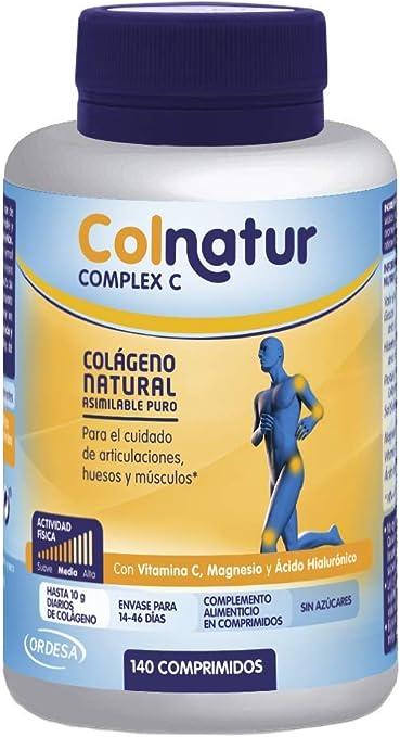 Colnatur Complex – Comprimidos de Colágeno Natural para Músculos y Articulaciones, Vitamina C, Magnesio y Ácido Hialurónico, 140 Comprimidos