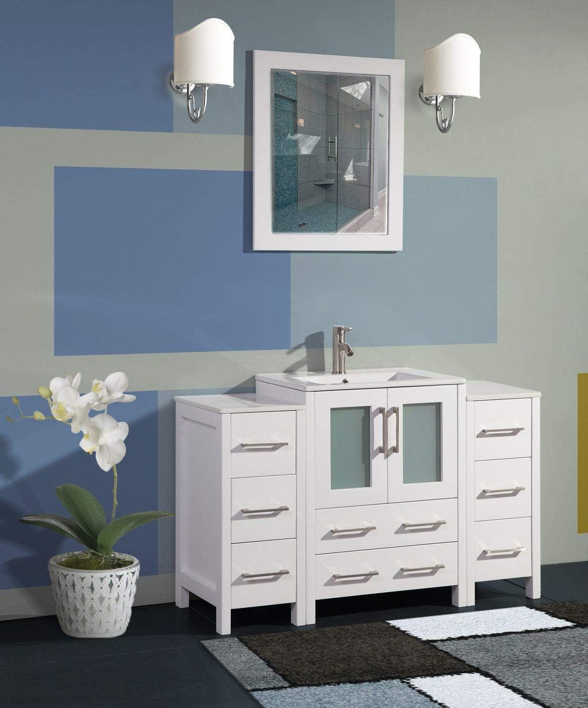 Amazon Com Vanity Art 48 Inch Single Sink Modern Bathroom Vanity Combo Set 2 Side Cabinets 1 Shelf 8 Drawers Ceramic Top Bathroom Cabinet With Free Mirror Va3024 48 W Kitchen Dining