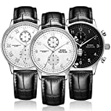 BUREI Mens Stylish Dress Quartz Watches with White Dial Chronograph Mineral Crystal Leather Starps