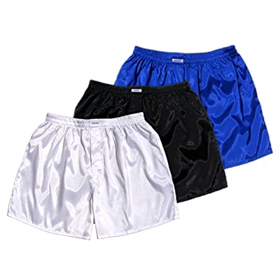 (XXL) 3 shorts pour Blanc Noir Bleu Boxer Shorts Sous-vêtements Vêtements de nuit en satin