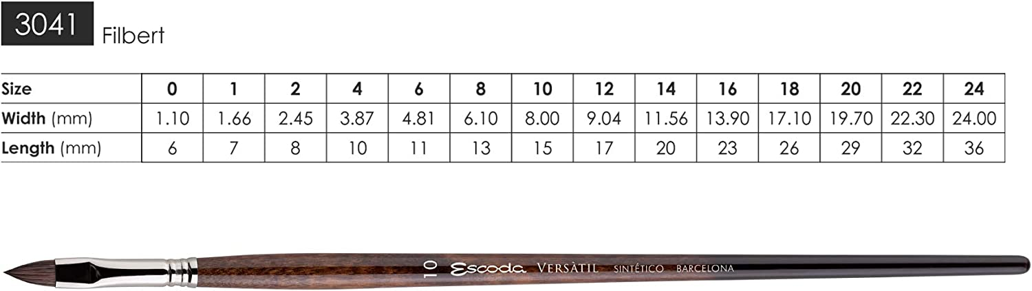 Bright Speedball Art Products 3042-1 Escoda Versatil Series Oil and Acrylic Paint Artist Brushes Size 1