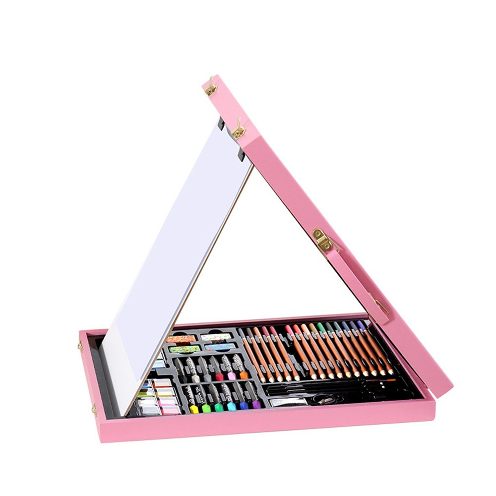 Artist art drawing set, The Color Luxury Wood Art Drawing Set Is For Children In Wooden Boxes, 106 Paintings, Stereo Easel, Portable Hand, Boy/girl, Green/pink. Gifts for children and children.