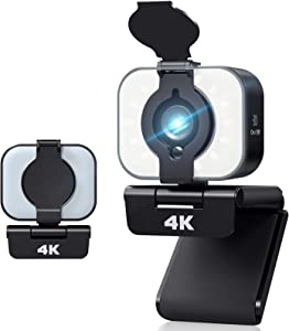 4K HD Webcam PC USB Camera with Privacy Cover 105° Wide Screen Pro Streaming Webcam for Desktop Laptop with Adjustable Fill Light, Built-in Microphone and Flexible Clip for Multifunctional Use