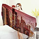 Anhounine Bath Pool Shower Towel for Kids Cityscape Dubai at Night Cityscape with Tall Skyscrapers Panorama Picture Arabian Peninsula Bathroom Towels 63''x31.5'' Pink Gold