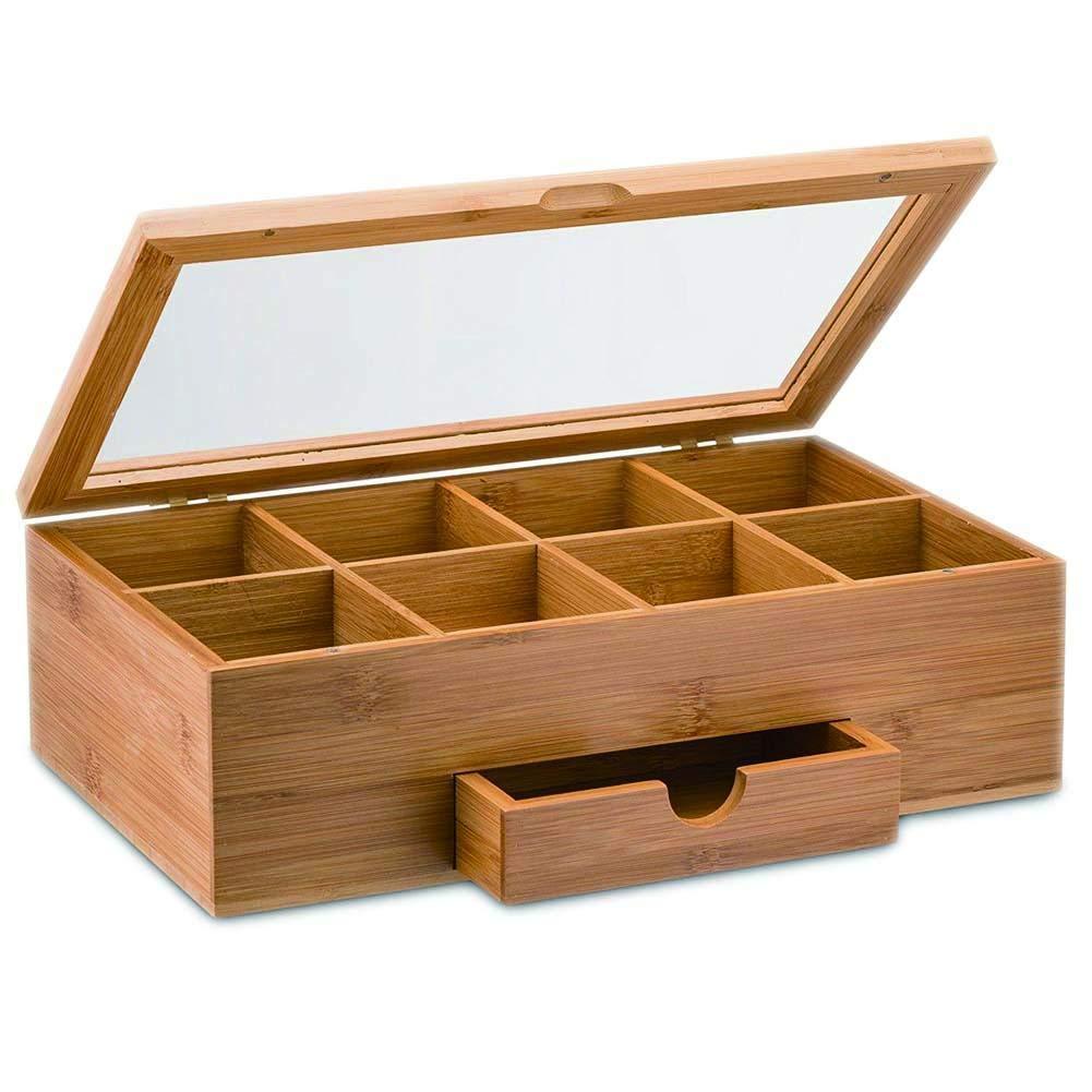 Pretty-jin Hölzerne Tee-Box, Tee-Aufbewahrungsbehälter, Kaffee, Zucker - natürliche Reine Hand mit Oberlicht, 8 Fächer für Lagerung und kleines Fach - hölzerne Qualität, 33 * 20.3 * 8cm