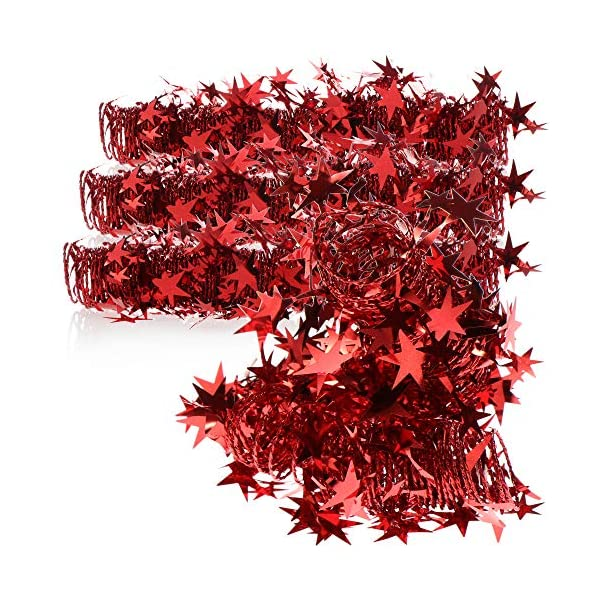 com-four® 4X Spirale Decorativa con Stelle - Ghirlanda di Stelle a Forma di Spirale per Natale - Ghirlanda Natalizia per Decorazioni per Alberi di Natale - 7,5 m ciascuna (Rosso - 4 Pezzi) 1 spesavip