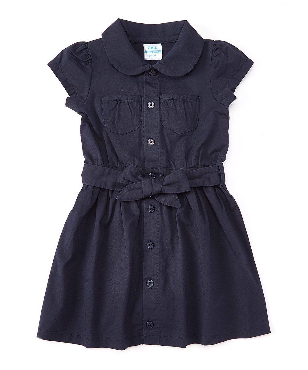 unik Girl Uniform Belted Safari Dress Navy Khaki GDU1775-P