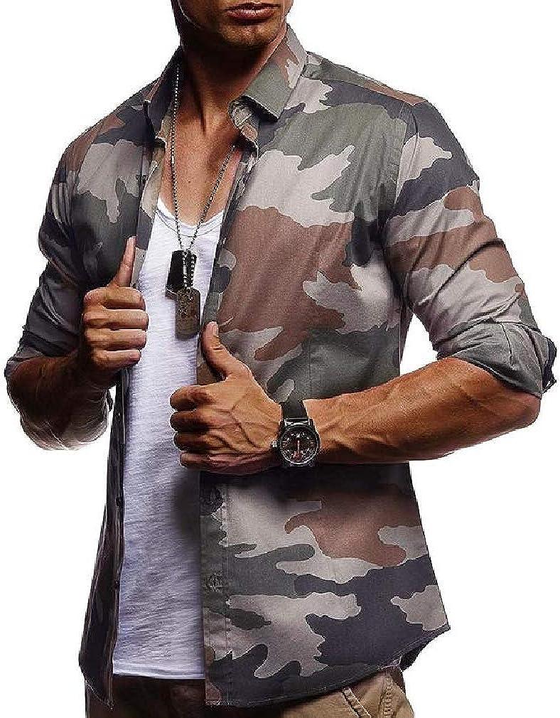 Cromoncent Men Camouflage Print Lapel Neck Curved Hem Button Down Shirts