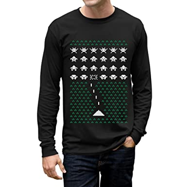 Space Geeky Ugly Christmas Sweater Invaders Funny Xmas Long Sleeve T