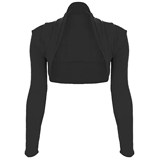 0164652edd Oops Outlet Women s Plain Long Sleeve Open Bolero Cropped Cardigan Shrug  Top S M (