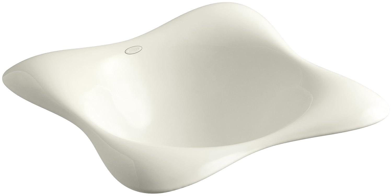 KOHLER K-2815-P5-96 Dolce Vita Vessels Bathroom Sink with Black Iron Underside, Biscuit