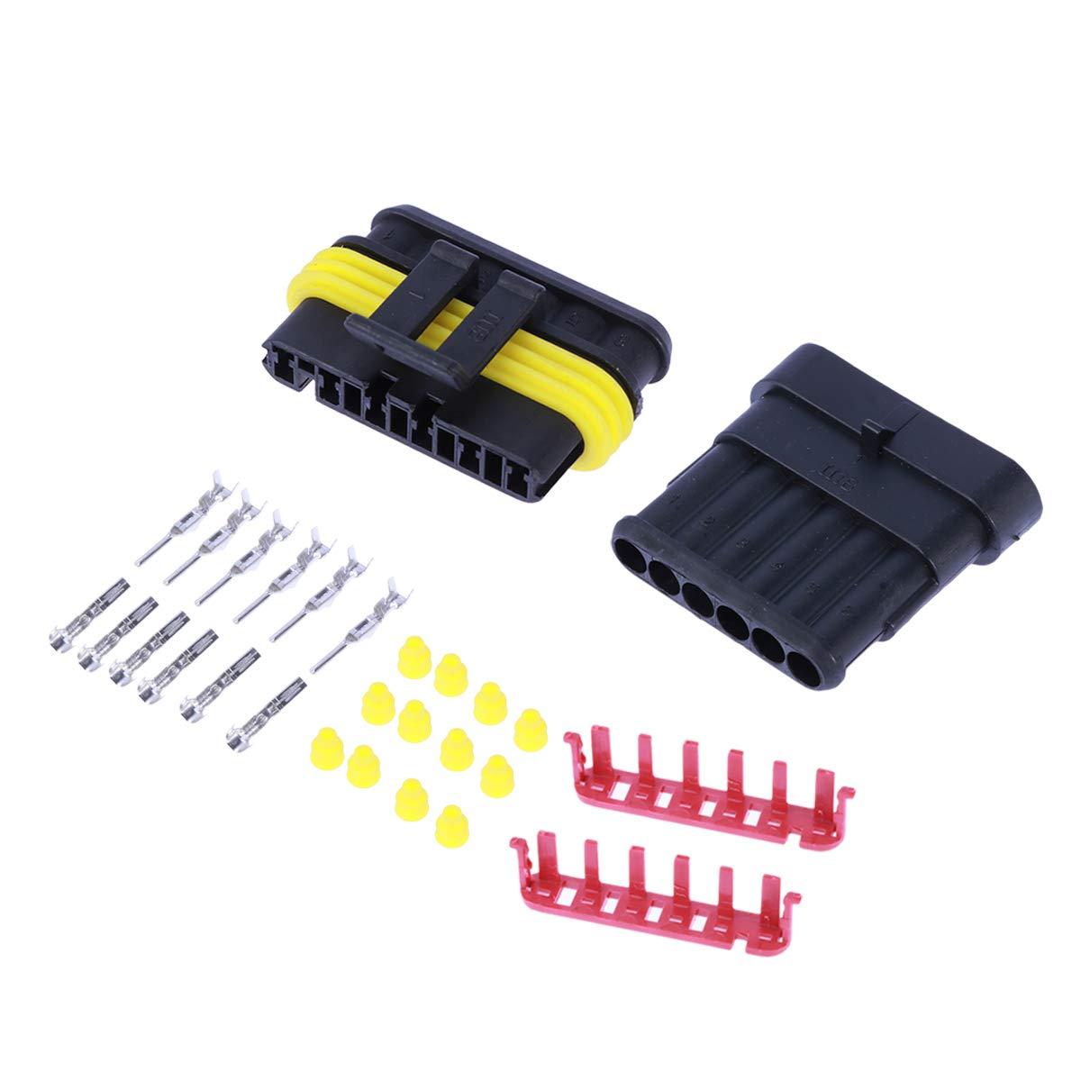 Vosarea 5 Kit 6 Pin Connettore elettrico impermeabile Connettore del cavo automobilistico Spina per moto spina HID Terminali termorestringenti