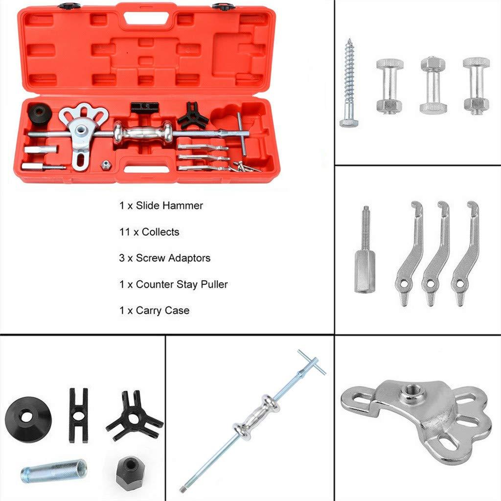 16PC Slide Hammer Puller Set, 2/3 Jaw External Internal Oil Seal Bearing Remover, Axle Slide Hammer Dent Panel Bearing Puller Set,Rear Wheel Axle Shaft Puller Tool Kit,for Removing Axles, Seals, Beari by lUKSY US-Direct