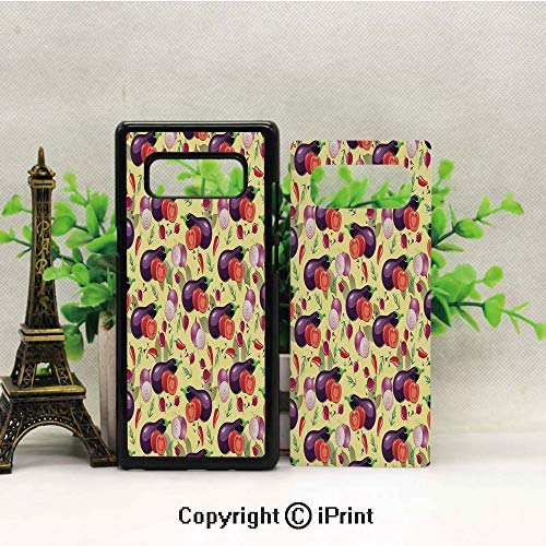Galaxy Note 8 Case Heavy Duty Protection Shock Absorption Slim Soft TPU Cover Eggplant Tomato Relish Onion Going Green Eating Organic Tasty Preserve Nature Decorative Pattern for Samsung Galaxy Note