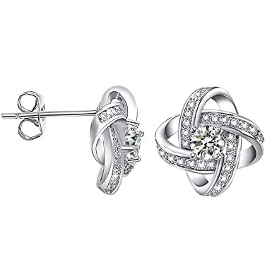 05bc55744 Image Unavailable. Image not available for. Color: VOGEM Love Knot Stud  Earrings For Women Platinum Plated Cubic Zirconia ...