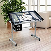Yaheetech Adjustable Drafting Drawing table Rolling Drafting Desk Tempered Glass Top