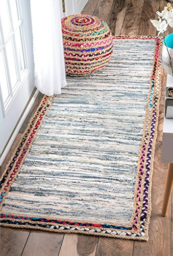 nuLOOM Handwoven Braided Border Denim Rag Runner Area Rugs, 2