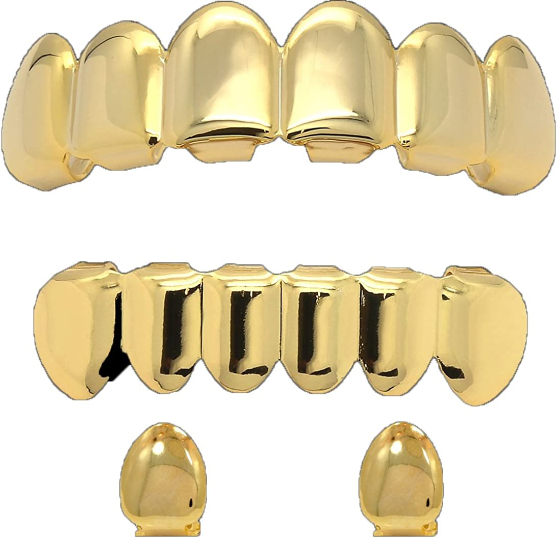 Jewel Town Custom 14k Gold Plated Hip Hop Teeth Grillz Caps Top & Bottom Set + 2 Free Single Tooth