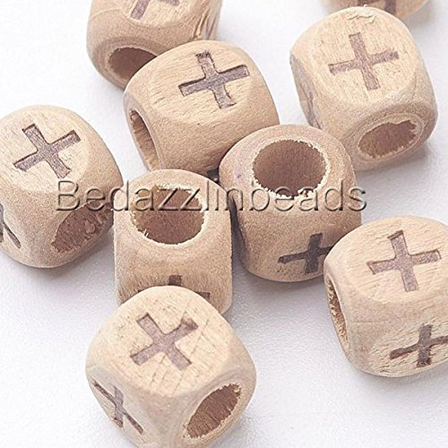 - 30 Engraved 8mm Square Cube Natural Wood Beads with Burned Cross Design 4mm Hole