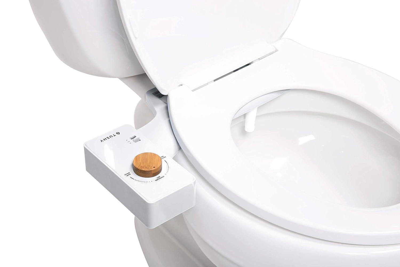 Modern Sleek Design White//Bamboo Knob TUSHY Classic Bidet Toilet Attachment Fresh Clean Water Sprayer Non-Electric Self Cleaning Nozzle