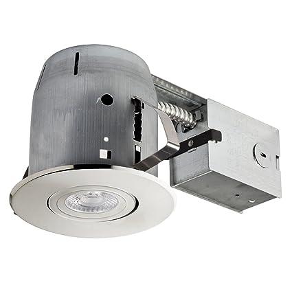 amazon com 4 led ic rated swivel spotlight recessed lighting kit