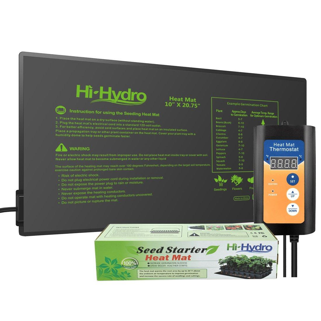 HiHydro HiHydro 10''x20'' Seedling Heat Mat and Digital Thermostat Combo Set