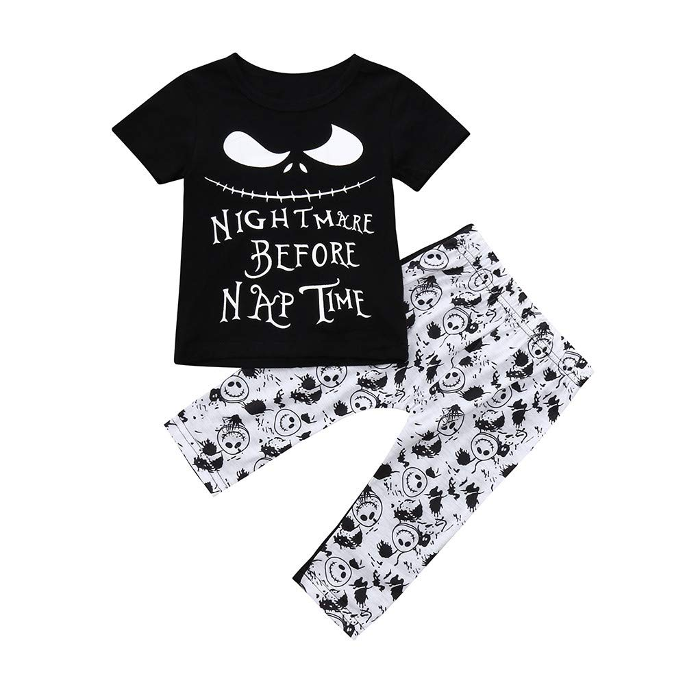 Toddler Infant Baby Boys Girls Letter Cartoon Print Tops Pants Outfits Set