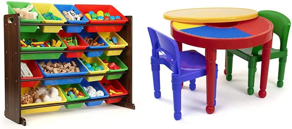 Humble Crew Supersized Wood Toy Storage Organizer, Toddler, Espresso/Primary & Red/Green/Blue Kids 2-in-1 Plastic Building Blocks-Compatible Activity Table and 2 Chairs Set, Round, Primary Colors