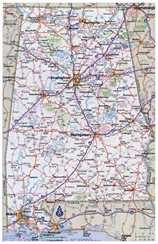 Home Comforts Large Detailed Roads and Highways map of Alabama State with All Cities Vivid Imagery Laminated Poster Print 24 x 36