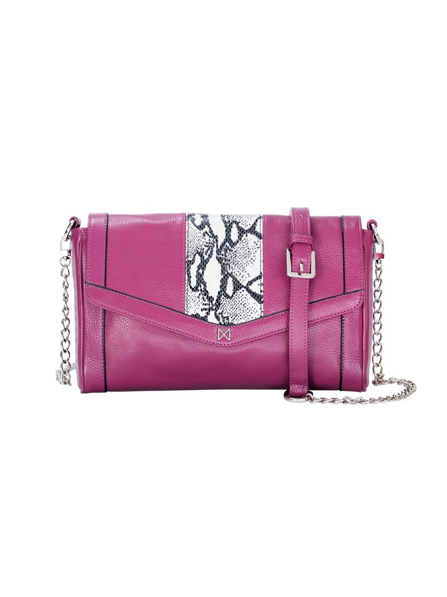 PIERIAN Convertible Snake-Embossed Crossbody, Clutch & Shoulder Bag with Adjustable Chain Strap