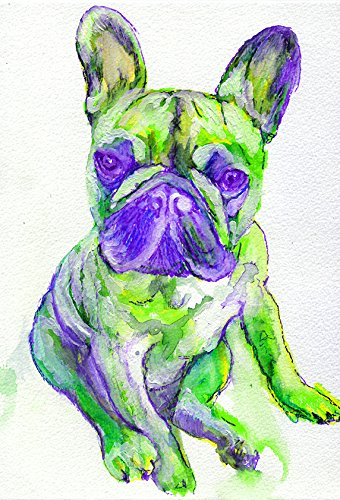 French Bulldog Art, Cute Frenchie Puppy Print, Green Purple